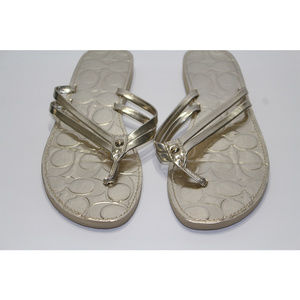 Coach Metallic Gold Flip Flop Sandals